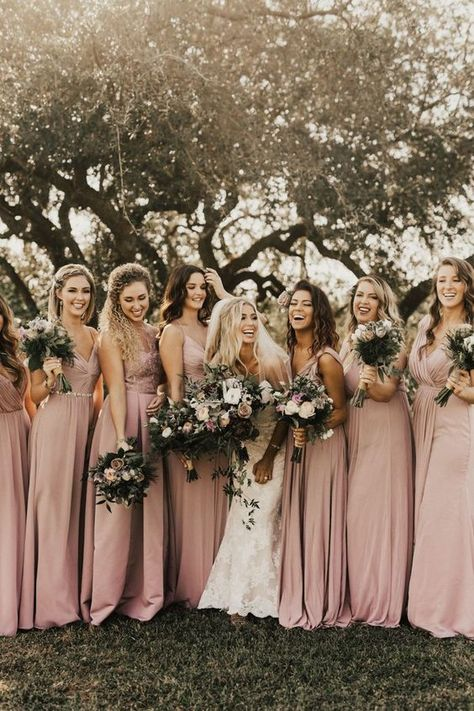 We love these mismatched dusty pink bridesmaid dresses from david s bridal quartz bridesmaid dresses this golden vintage villas wedding is a classic boho dream junebug weddings enzoani Dusty Pink Bridesmaid Dresses, Dusty Rose Dress, Wedding Bridesmaids, Different Bridesmaid Dresses, Burgundy Bridesmaid, Bridesmaid Makeup, Pink Brides Maid Dresses, Bridesmaid Colours, Rustic Wedding Groomsmen