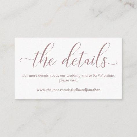 Rose Wedding Website Enclosure Card #weddingwebsite #informationcard #websitecard #calligraphy #website #webaddress #simple #elegant #rose #mauveenclosurecard