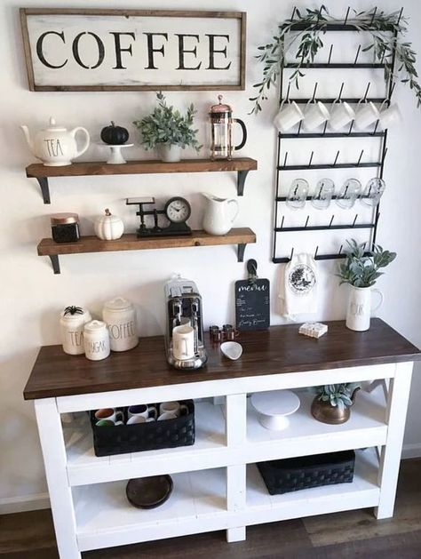 Diy Coffee, Kitchen Decor, Farmhouse Coffee Bar, Coffee Bar Home, Bars For Home, Coffee Bar Design, Home Decor, House Interior, Coffee Bars In Kitchen