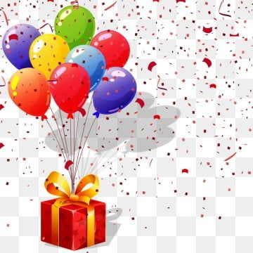Beautiful Birthday Gift With Balloons Png Gift Box Png Confetty Png Gift With Balloon Png Png And Vector With Transparent Background For Free Download In 2020 Happy Birthday Balloons Birthday Background