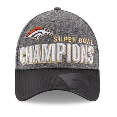 Men s Denver Broncos New Era Heather Gray Black Super Bowl 50 Champions  Trophy Collection Locker Room 9FORTY Adjustable Hat ff1728ef1