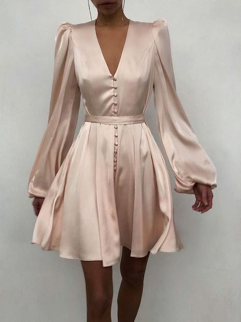 Product: Fashion Elegant Lace-up V-Neck Mini Dress Garment Type: Dresse, Mini Dresse Neckline: V Neck Occasion: Daily Pattern Type: Solid Sleeve Type: Long Sleeve Theme: Spring, Summer, Fall, Winter Style: Casual, Elegant, Simple Material: Polyester Color: Beige, Black Size: S, M, L, XL, XXL Please Note: All Dimensions Are Measured Manually With A Deviation Of 1 To 3cm.