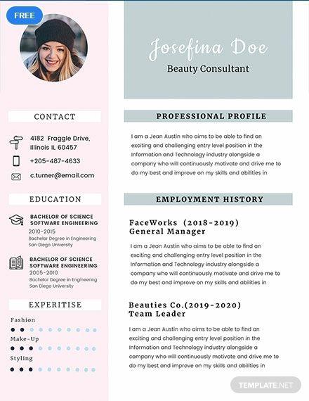 Beauty Consultant Resume Cv Template Word Psd Apple Pages Publisher Beauty Consultant Resume Art Teacher Jobs
