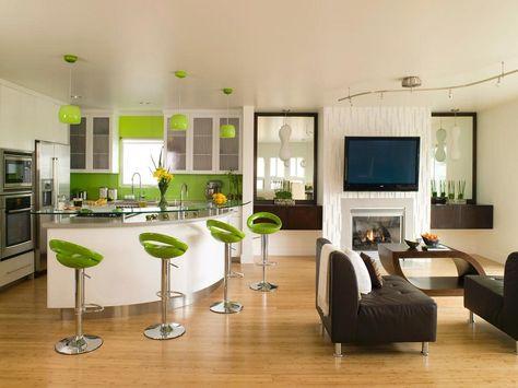 soggiorno con angolo cottura-accenti-verde-acido | To do list ...