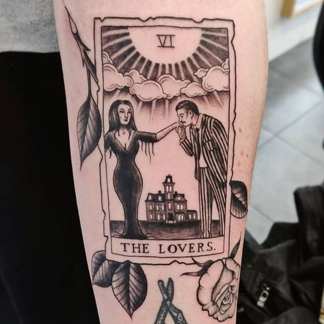 The Lovers tarot card, Addams Family style. Featuring The tiniest pin-striped suit everrrrrr! Dreieckiges Tattoos, Body Art Tattoos, Ankle Tattoos, Arrow Tattoos, Temporary Tattoos, Print Tattoos, Bear Tattoos, Music Tattoos, Baby Name Tattoos