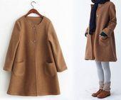 249 --- Damen Winter gekochte Wolle A-Linie Mantel, Kamel Trapez Mantel, grau voller Länge Mantel, Massanfertigung   - Idées Couture - #ALinie #couture #Damen #gekochte #Grau #Idées #Kamel #lange #Mantel #Massanfertigung #Trapez #voller #Winter #Wolle