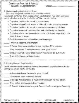 Grammar Worksheets and Tests: 6th Grade NO PREP Printables | Charts ...