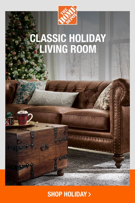 Whether it's rich leather, soft upholstery or plush throw pillows, surround yourself in cozy comfort this season. Click to shop The Home Depot online for furniture, decor, holiday accents and more.
