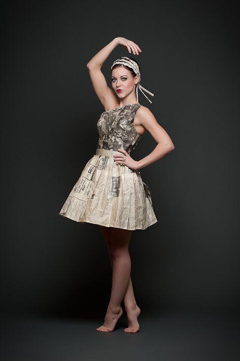 Newspaper dress.