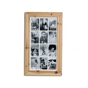 Deluxe 12 Aperture Solid Pine Wood Hanging Multi Photo Picture Frame Natural Brushed Pine Multi Photos Frame Multi Photo Photo Picture Frames