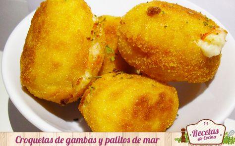 Croquetas caseras de gambas y palitos de mar -  Las croquetas son un alimento que les encantan a los niños, pero casi siempre se realizan de pollo o jamón, sobrantes del típico puchero de la abuela. Es por ello, que hoy os doy una idea nueva para hacer esta típica receta a modo de tapa o cena. Estas croquetas están hechas a base de gambas, pa... - http://www.lasrecetascocina.com/2014/03/14/croquetas-caseras-de-gambas-y-palitos-de-mar/