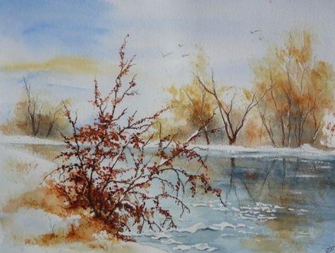 Aquarelle M P Desormiere Hiver Aquarelles Watercolor Neige