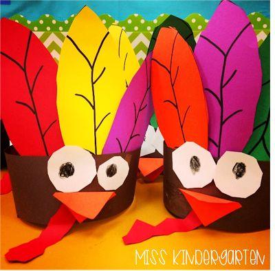 Miss Kindergarten: Gobble Gobble {turkey headbands}