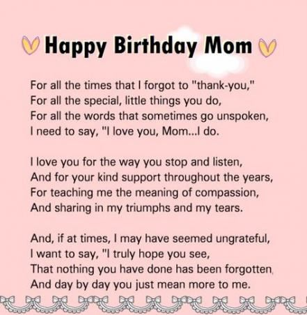 Birthday Message For Mom Quotes Poem 35 New Ideas Happy