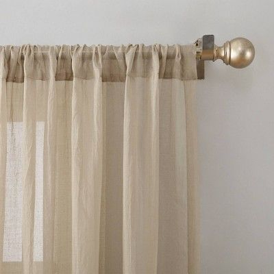 Avril Crushed Sheer Rod Pocket Curtain Panel Oatmeal 50 X63 No