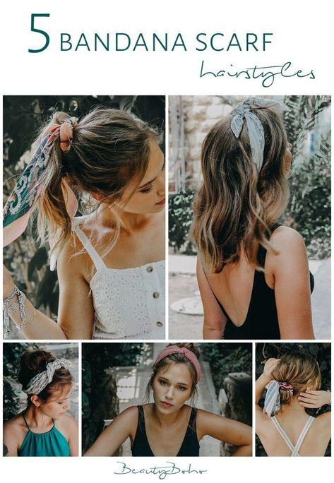 how to use bandana.  bandana scarf hairstyle. messy hair. short hair.  how to ad... -