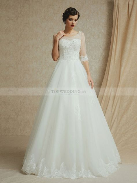 Sheer Half Sleeves Tulle Wedding Dress with Beaded Bodice and Appliqued Hem