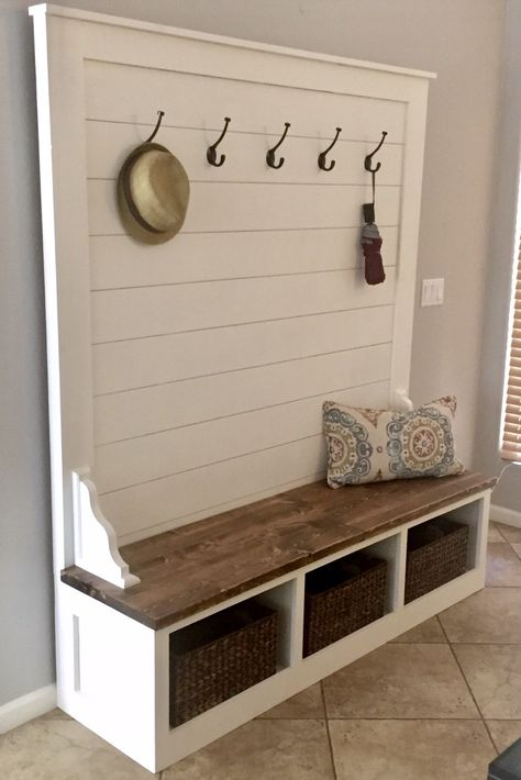 bench with storage Shiplap Hall Tree Bench Plans — the Awesome Orange Woodworking Bench, Custom Woodworking, Popular Woodworking, Japanese Woodworking, Cubby Bench, Mudroom Bench Plans, Entryway Bench Storage, Hall Bench With Storage, Entry Bench