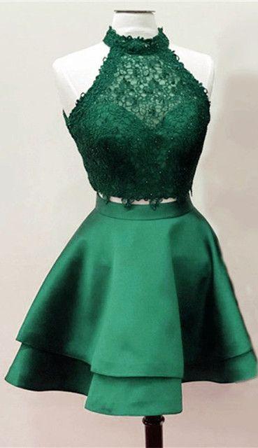 55518fb2b4e6 Dark Green Homecoming Dresses,Emerald Green Homecoming Dresses,Two Piece  Homecoming Dresses,Short Prom Dresses,Lace Crop Homecoming Dresses