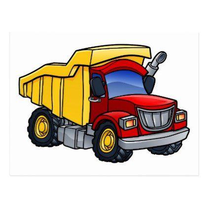 Dump Truck Tipper Cartoon Postcard Construction Business Diy
