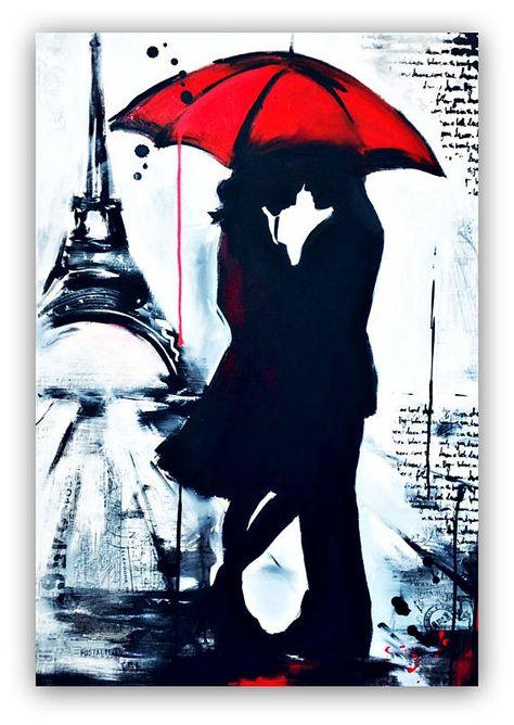 Midnight in Paris Original Painting on Canvas Wanderlust by Lana Moes