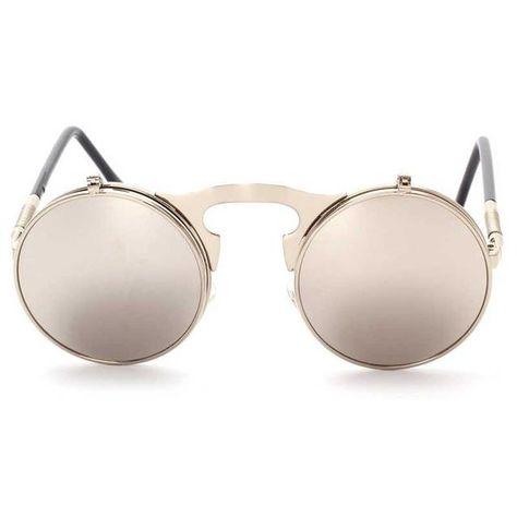 dd08d7d0e4b Flip Up Sunglasses Steam punk Men Circle Sun glasses Vintage Round  Steampunk Glasses Women Retro Metal Coating Lens Sun glasses