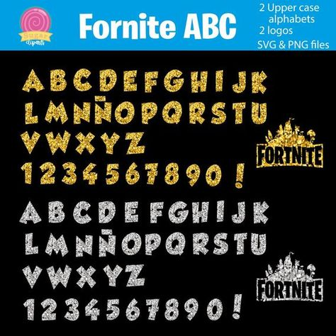 Glitter Confetti Silver And Gold Alphabet And Logo Each File In Svg And Png Files Fortnite Fonts Alphabet Alphabet