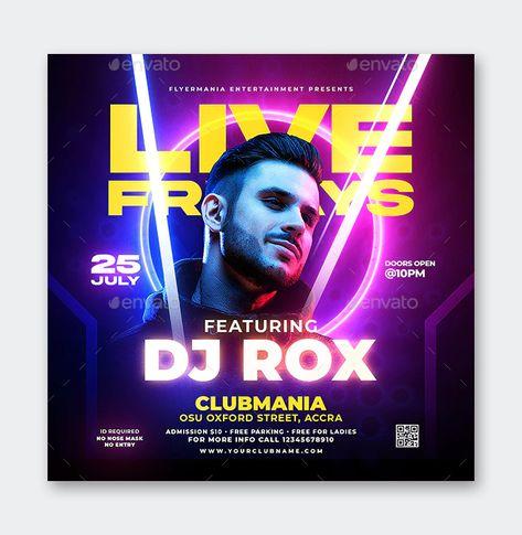 Square DJ Flyer PSD Template