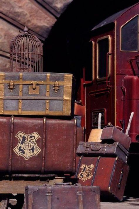 Harry Potter steam trunk near the Hogwarts Express Carte Harry Potter, Deco Harry Potter, Harry Potter Wizard, Harry Potter Style, Orient Express, Vintage Luggage, Vintage Travel, Vintage Suitcases, Vintage Market
