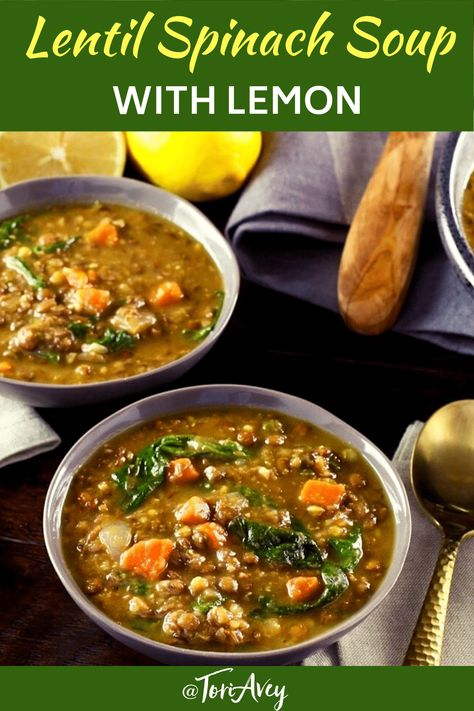 Lentil Spinach Soup with Lemon - quick, easy and healthy one pot vegan meal. Hearty and filling. | ToriAvey.com #soup #healthy #lentils #lemon #easyrecipe #vegetarian #cleaneating #kosher #vegan #lightenup #vegan #hearthealthy #flavor #spinach #eatyourgreens #veganprotein #carrots #coldweathercooking #TorisKitchen