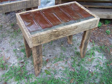Reclaimed Tin Roof Shingle And Oak End Tables Pair In 2020 Oak