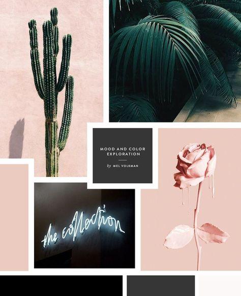 Gloc Street Food Restaurant Mood Board Color Palette by Mel Volkman | Street Design | Pink Rose | Tropical | Palm Trees | Neon Sign | Modern Branding | Modern Logo | Nude Color