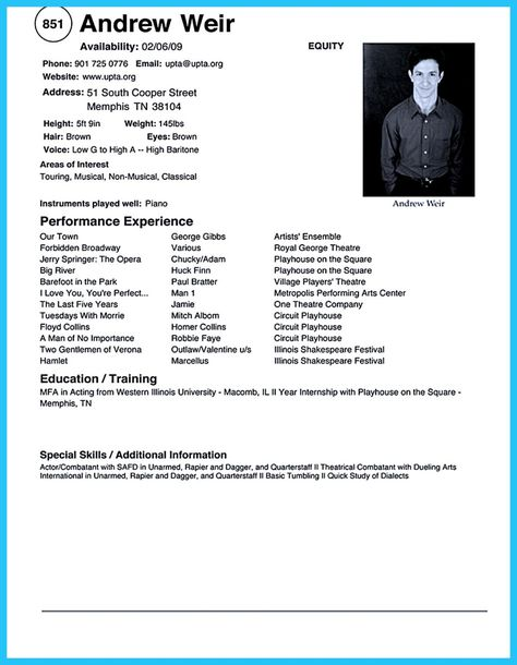 Clerical Resume Sample provides your chronological order of - theatrical resume template