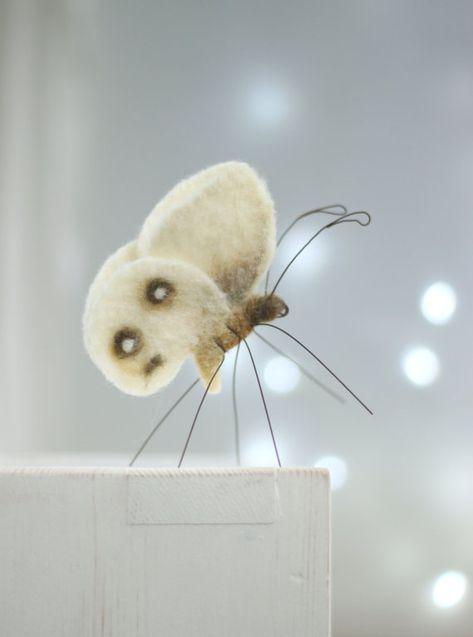 Needle Felt Butterfly - Needle Felt White Butterfly - White Butterfly Decor - Summer Home Decor - Butterfly Ornament - Handmade Butterfly