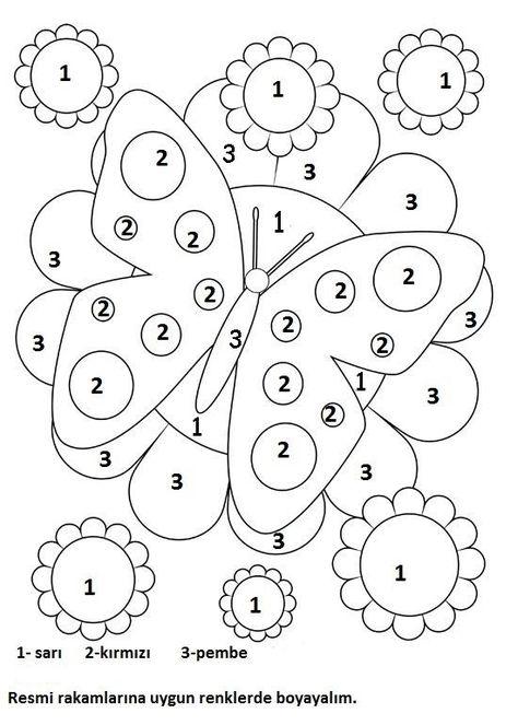 Okul Oncesi Matematik Etkinligi 1 2 3 Rakami Sayilara Gore Renk