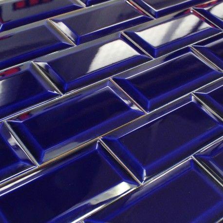 Carrelage Mural Aspect Metro Parisien Bleu Brillant Carrelage Metro Carrelage Mural Carrelage Parement Mural