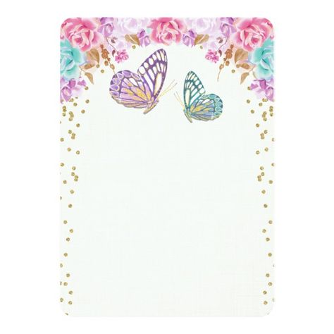 Butterfly birthday invitation, pink purple gold card