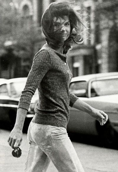 #JackieO embodied '70s ease in a pair of tie-dye jeans and Henley sweater. http://www.instyle.com/instyle/package/general/photos/0,,20479325_20436052_20866429,00.html