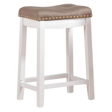 Angel Line Cambridge 24 Inch Padded Saddle Stool White W Tan