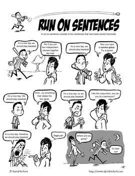 Run On Sentences Comic Run On Sentences Teaching Grammar