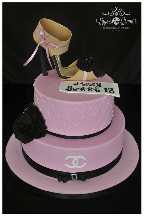 Sweet 18 Chanel Theme birthday cake. I made this cake a while ago for a beautiful girl who turned to 18.