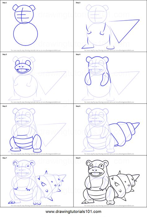 How To Draw Slowbro From Pokemon Go Printable Drawing Sheet By