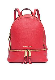 60c42eb6b41f MICHAEL Michael Kors Rhea Zip Small Backpack Red Backpack, Leather Backpack,  Small Backpack,