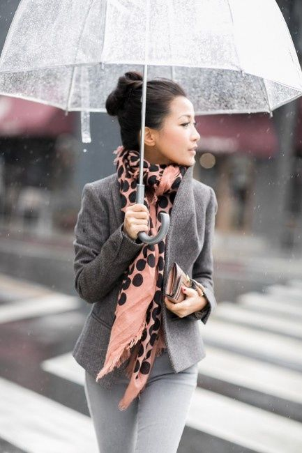 Grey Blazer, Grey Jeans, Dusty Pink & Brown Scarf, Bubble umbrella // bun