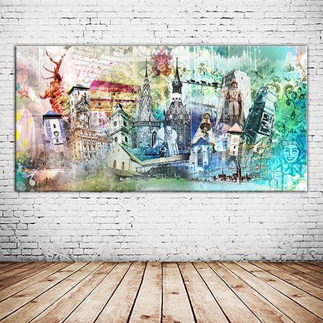 80788 munchen auf leinwand und oder als alu druck versandkostenfrei bestellen kunstproduktion collage online kaufen foto quadratisch