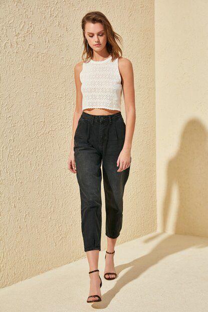 بنطلون جينز أسود بخصر مرتفع وطيات نسائي Velvet Dress Short Long Black Evening Dress Black Mom Jeans