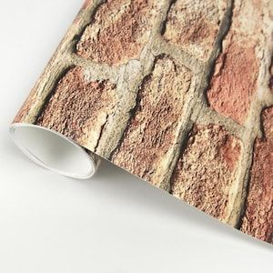 Scott Living 30 75 Sq Ft Red Vinyl Brick Self Adhesive Peel And Stick Wallpaper Lowes Com In 2020 Peel And Stick Wallpaper Vinyl Brick Wallpaper