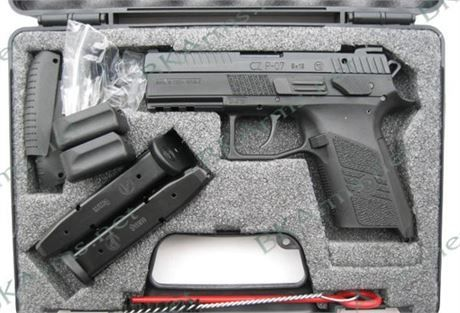 """FREE SHIPPING to CONUS! CZ 91086 P-07 Compact 9mm 3.8"""" 15+1 Stippled Grips Black Nitrate Slide.  The CZ P-07 is the updated version of the CZ 75 P-07 Duty. The compact sized P-07 features a nitrated slide finish that wears longer and has increased corrosion resistance. Like the P-09, the P-07's safety and decocker are interchangeable with a few minutes and minimal tools. Add to that small, medium and large backstraps and an integrated 1913 Picatinny rail on the dust cover and the P-07 is…"""
