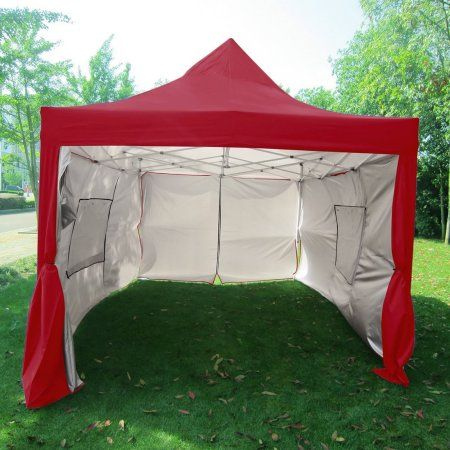 Quictent Privacy 10x15 Ez Pop Up Canopy Party Tent Gazebo With Sidewalls And Mesh Windows Waterproof Red Walmart Com Tent Canopy Tent Party Tent