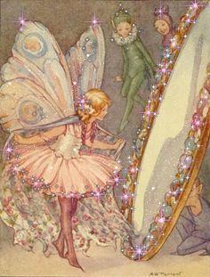Margaret Tarrant, fairy in the mirror illustration Illustrators, Vintage Fairies, Illustration, Fantasy Art, Fairy Pictures, Tarrant, Art, Fairy Art, Fairy Tales